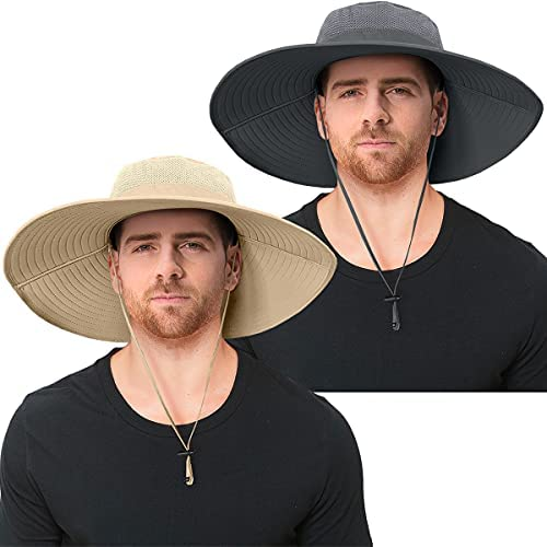 2 Pieces Mens Super Wide Brim Sun Hat UPF50+...