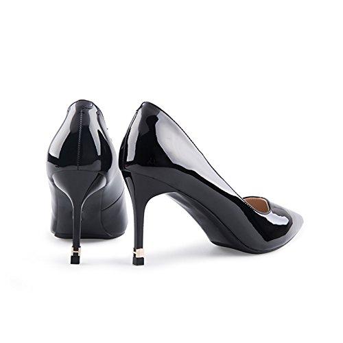 Verni Et Couleur 36 Femme Talon Haut Et Cuir Escarpins JIANXIN Chaussures Printemps taille Noir En Ouvert Femmes Été À Pour Pour Bout w6UBq4Y