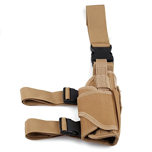 Review Adjustable Tactical Hunting Right Handed Leg Pistol Gun Pouch Holder Drop Leg Thigh Holster (Tan)