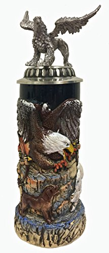 Hunters and Griffin with 3D Pewter Lid LE German Stoneware Beer Stein .75 L by Pinnacle Peak Trading Company