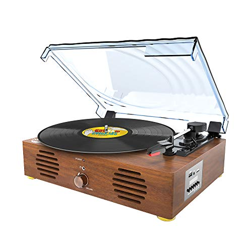 Record Player-13 in 1 Turntable with Speakers Vinyl Recording LP Bluetooth USB TF Card FM Radio Aux Input RCA Line Out and Headphone Jack (Record Player Brown)