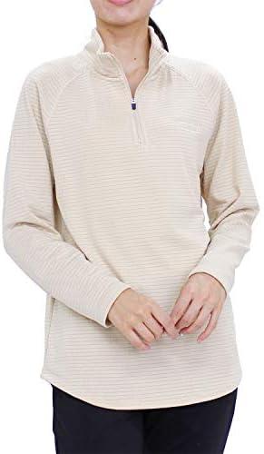 (バンスポーツ) 裏ワッフルフリーススタンドカラーハーフZipシャツ スポーツウエア レディース ストレッチ ロゴ刺繍 長袖