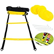 YaeTact 12 Rung 20FT Agility Speed Ladder Bundle by Trained with 6 Sports Cones and Carry Case, Speed Training Equipment for High Intensity Footwork