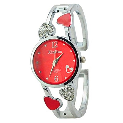 (ELEOPTION Women's Bangle Watch Bracelet Design Quartz Watch with Rhinestone Round Dial Stainless Steel Band Wrist Watches Free Women's Watch Box (Loving-Red))