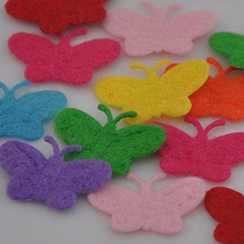 100Pcs Padded Lovely Butterfly Appliques Craft Kid's Doll Lots Color ()