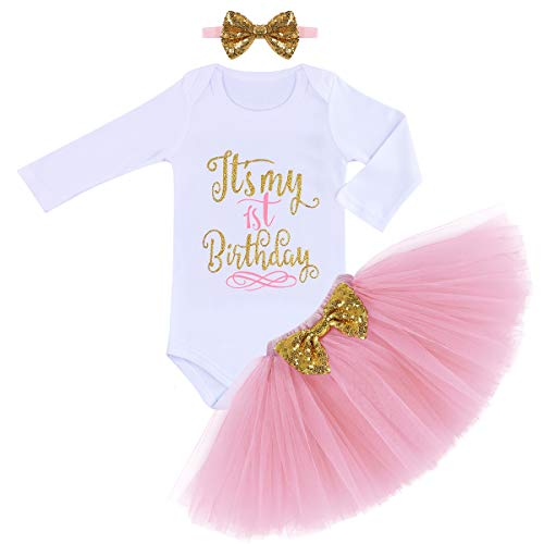 (Newborn Baby Girl First Birthday Party Romper Elastic Tulle Skirt Sequin Bow Hair Band 3PCS Clothes Set Playwear Pink Long Sleeve 1st)