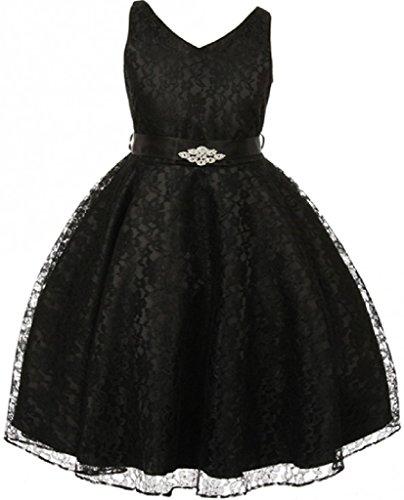 Big Girls' Lace Floral Pattern Satin Sash Flower Girl Dress Black 14 (Girls Flower Pattern)