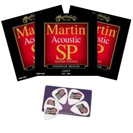 Martin MSP4100 SP Phosphor Bronze Acoustic Guitar Strings, Light - (Martin Msp4100 Light)