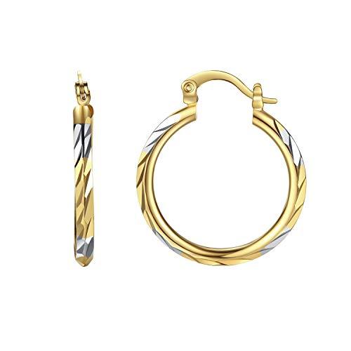 18k Earrings Tone Two (Followmoon 18K Gold Rhodium Plated Two-Tone Hoop Earrings For Women Jewelry Gift (Two-Tone Hoop Earrings 26mm Wide))
