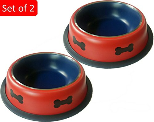 Mr. Peanut's 2 Pak Premium Stainless Steel Dog Bowls, Rust Proof with Non-Skid Durable Natural Rubber Base That Won't Slip, 24oz Pet Feeding Bowls (Set of 2 Red)