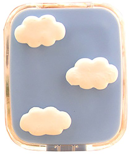 ChezMax 1 Piece Contact Lens Case Box Kit Set With Mirror 3D Clouds Pattern Contact Lens Case Container Blue