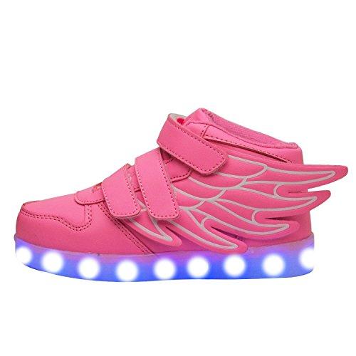 Schuhe der Sommerneuen Kinderflügel USB-Kinder Freizeit Sport LED-Licht Schuhe Rosa