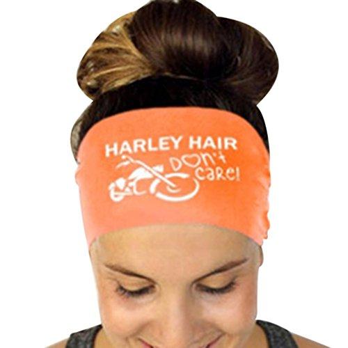and Elastic Hair Band Sweatband for Sports or Fashion, Yoga (Orange, Harley Hair) (Face Womens Cut T-shirt)