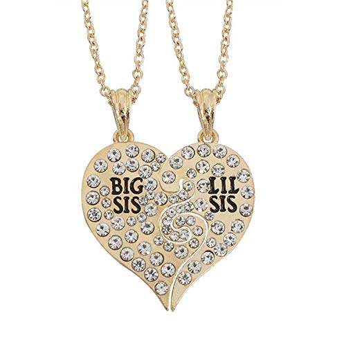 Flamingogogo Best Friends Forever Sister Pendant Necklace Women Enamel Love Heart Coffee Cup Necklaces Pendants Couple Jewelry,Crystal Gold