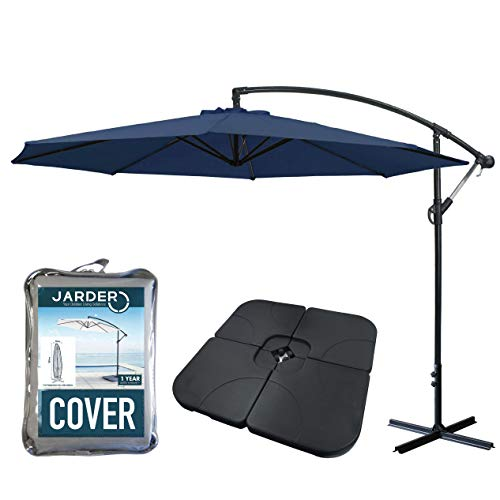 Jarder Parasol Set - 3m Cantilever Garden Parasols with Base & Cover - Open  Ratchet & Tilt Function (Blue)