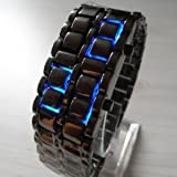 AQY Lava Style Iron Samurai Black Bracelet blue LED Watch with box