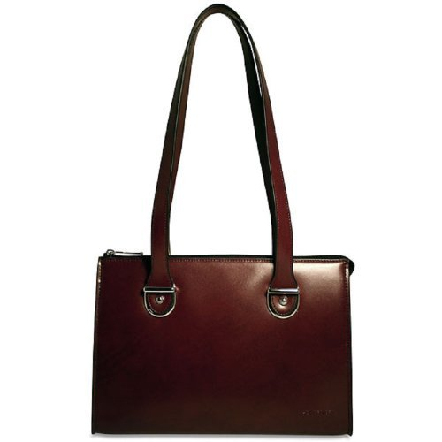 Cherry Jack (Jack Georges Milano Collection Top Zip Shoulder Leather Handbag in Cherry 3604)