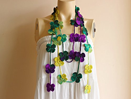 Jewelry Shades (Flower Scarf-Multicolor Lariat Scarf-Necklace Lariat Scarf-Purple and Shades of Green Scarf-jewelry Scarf-Crochet Scarf)