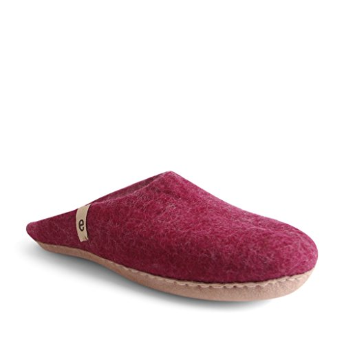 Egos Huis Slippers: 100% Natuurlijke Schapenwol Handgemaakte Slippers | Warm, Zeer Comfortabel En Vochtabsorberend | Deluxe Slip Op Slippers Met Anti-slip Leren Zool | Pantoffels Voor Mannen, Vrouwen En Kinderen Cerise
