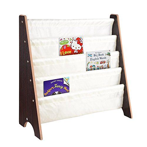 Durable and Steady Kids Sling Wooden Book Shelf Storage Rack Easy Install with Perfect Organizer Bookcase Display - Shoes Rivers Australia Online