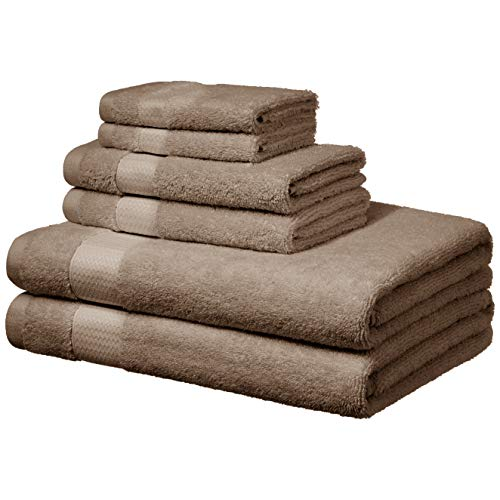 (AmazonBasics Everyday Bath Towels - 6 Piece Set, Taupe)