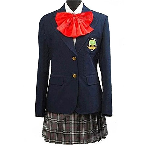 Anime Gogo Yubari Cosplay Girl Navy Blue Uniform Costume with Red -