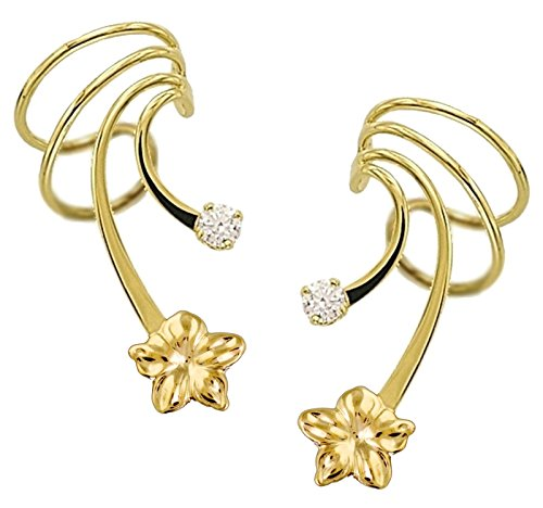 Plumeria Flower and CZ Gold on Silver Short Wave Ear Cuff Earring Wraps