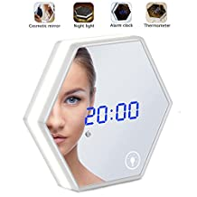 Hilifeone Mirror Alarm Clock, Multifunctional Rechargeable Led Makeup Mirror Digital Electronic Desk Wall Alarm Clock with Touch Screen Sensor Night Light and Thermometer for Home Bedroom and Bathroom