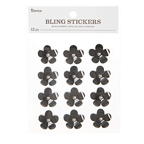 Darice 30053563 23mm Black Flower with Rhinestone Center, 12 Pieces Bling Stickers