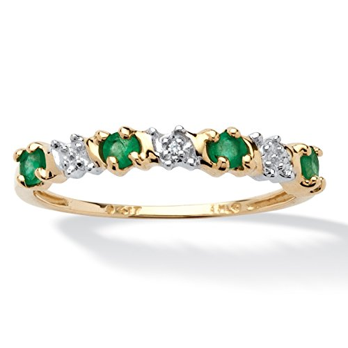Yellow Gold Diamond Stack Ring (Genuine Round Green Emerald and Diamond Accent 10k Yellow Gold)