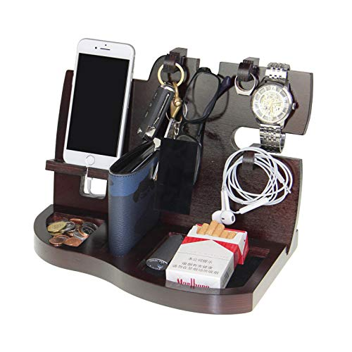 VrankyMen's Gift-Wooden Phone Docking Station with Key Holder, Wallet and Watch Organizer-Red