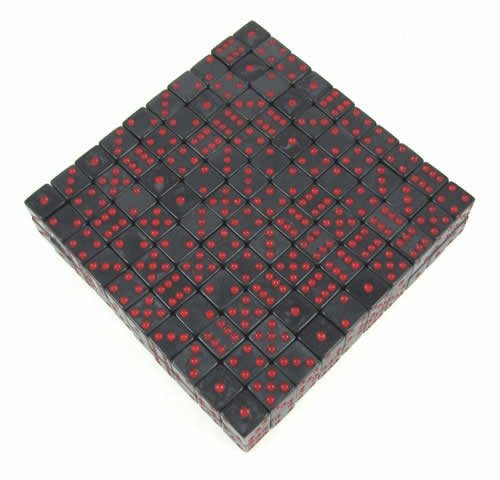 Charcoal Red Marbleized d6 16mm 200ea
