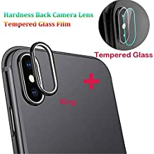 Lywey for iPhone XS Max 9H Back Camera Lens Ring +Tempered Glass Film Protector Cover