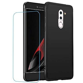 Funda Huawei Honor 6X + Vidrio Templado Lanpangzi 360°Caja Caso 3 in 1 Carcasa Todo Incluido Anti-Scratch Case Cover Protectora de teléfono para ...