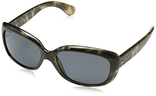 Ray-Ban Women's RB4101 Jackie Ohh Sunglasses, Tortoise Grey/Polarized Grey Gradient, 58 mm