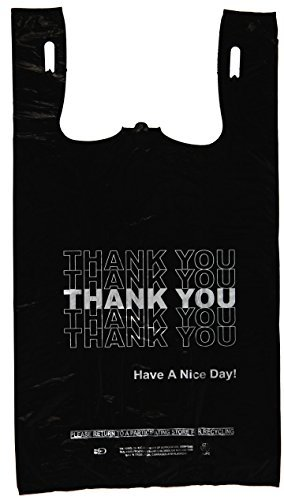 'Thank You' Silver Print Black T Shirt Bag 11.5