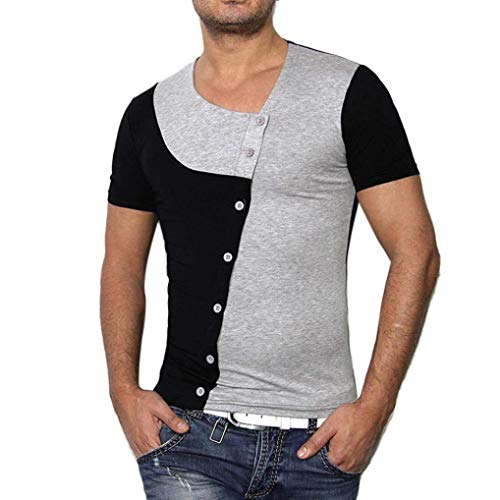 Acogedoras De Camisas Manga Hombres Grau Tops Para Verano Moda Pullover Empalme Camiseta Redondo Corta Con Cuello Odqp5O6w