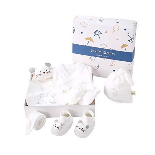 pureborn Unisex Baby 7-Piece Baby Essentials for Newborn Cartoon Mouse Layette Sets Giftset White 0-3 Months