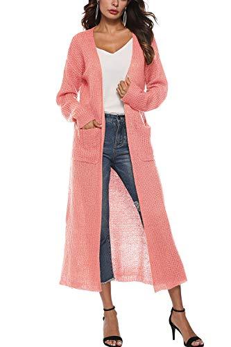 Abrigos Irregular Manga Las Larga Mujeres Knit Abrigo Cárdigan Pink Ropa Tejer Zilcremo De BPzwqxSSA