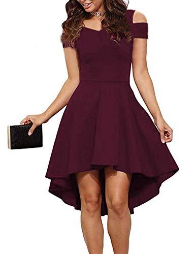 (POGTMM Women's Cold Shoulder Short Sleeve High Low Hem Cocktail Party A-line Skater Dress (S(4-6), Wine Red))
