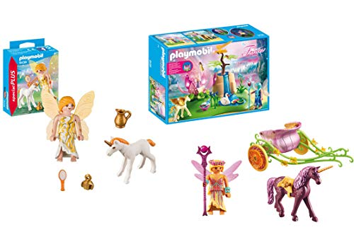 Playmobil Unicorn-Drawn Fairy Carriage and Sun Fairy with Unicorn -
