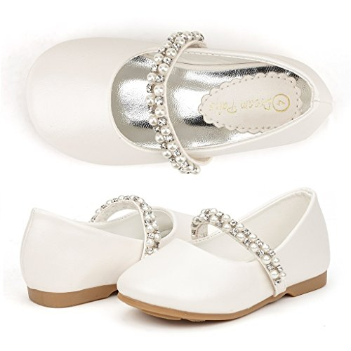 DREAM PAIRS SERENA-100-INF Mary Jane Casual Slip On Ballerina Flat Toddler New Ivory Size (Girls Ivory Pearl)
