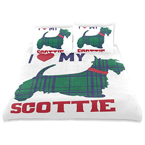 YCHY Decor Duvet Cover Set, I Heart My Scottie Message Tartan Pattern Built in Dog Silhouette A Decorative 3 Pcs Bedding Set with Pillowcases, King ()