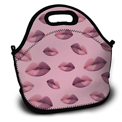 Dejup Lunch Bag Lips Pattern Tote Reusable Insulated