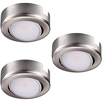 swivel led puck light kit list recessed surface mount design warm white brushed nickel finish pack lights 12v dimmable 120v under cabinet capstone battery life