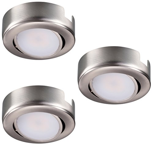 GetInLight Dimmable and Swivel, LED Puck Light Kit with ETL List, Recessed or Surface Mount Design, Warm White 2700K, Brushed Nickel Finish, (Pack of 3), IN-0107-3-SN (Finish Mount Recessed)