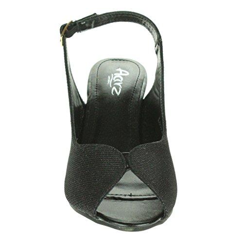 Mujer Señoras Brillar Peep Toe Brillar Peep Toe Slingback Tacón de cuña Noche Fiesta Boda Paseo Sandalias Zapatos Talla Negro