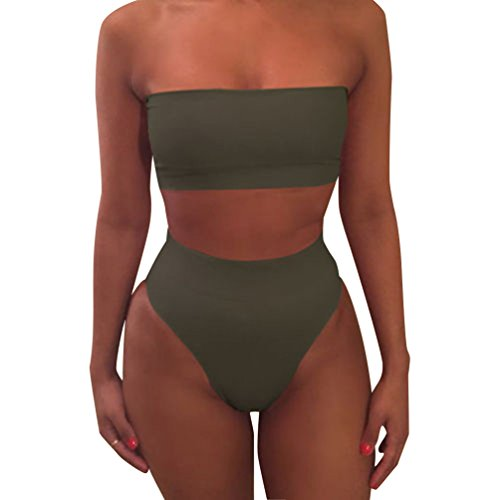 Mujeres Bikini Talle Alto Trajes de Baño Bandeau Bañadores Dos Piezas Bikinis Push Up Mujer Traje de Baño Sin Tirantes para Mujer Ropa de Baño Deportivos Biquini Señora Bañador Brasileño Ejercito Verde
