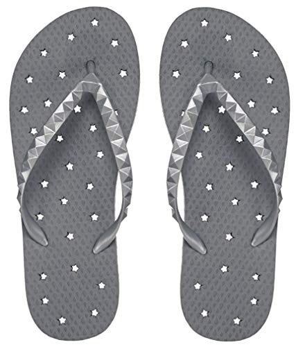 Showaflops Girls' Antimicrobial Shower & Water Sandals for Pool, Beach, Camp and Gym - Pewter 2/3