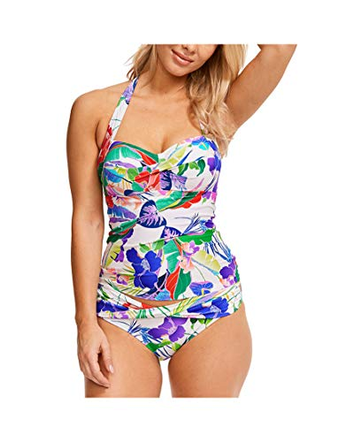 (Figleaves Womens Santa Monica Wired Tankini Size 34GG in White Floral)